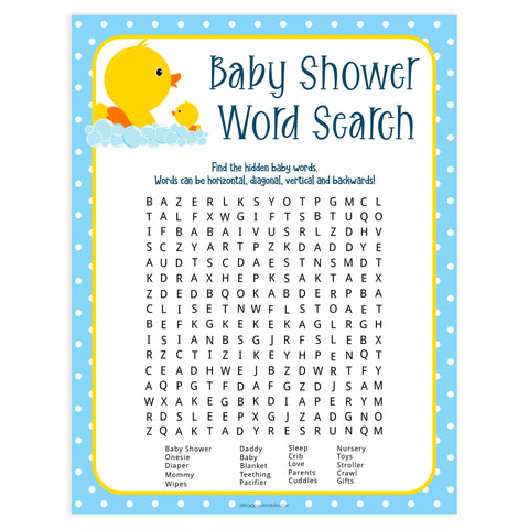 rubber ducky baby shower games, printable baby shower games, baby shower word search, baby word search game, fun baby games, top baby games