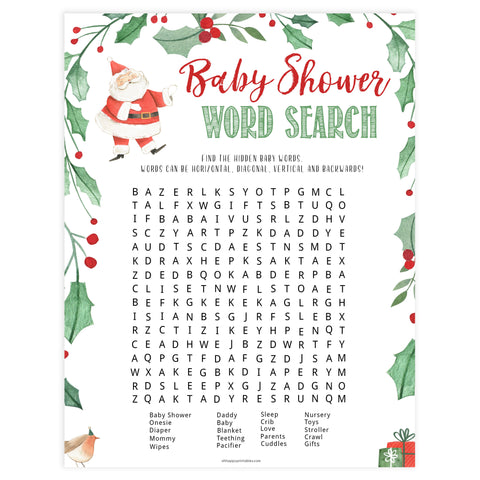 Christmas baby shower games, Baby Shower Word Search, festive baby shower games, best baby shower games, top 10 baby games, baby shower ideas, baby shower games