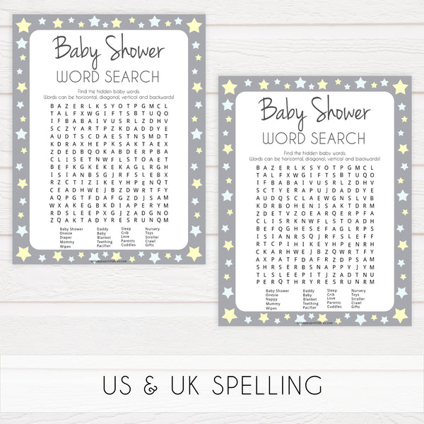 grey & yellow stars, baby shower word search, printable baby shower games, fun baby games, top baby shower games, star baby games, little star baby shower