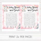 baby word search game, Printable baby shower games, fun abby games, baby shower games, fun baby shower ideas, top baby shower ideas, pink elephant baby shower, pink baby shower ideas