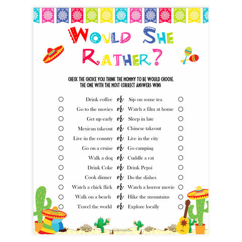 would she rather game, Printable baby shower games, Mexican fiesta fun baby games, baby shower games, fun baby shower ideas, top baby shower ideas, fiesta shower baby shower, fiesta baby shower ideas