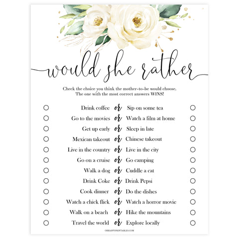 Editable would she rather game, Printable baby shower games, shite floral baby games, baby shower games, fun baby shower ideas, top baby shower ideas, floral baby shower, baby shower games, fun floral baby shower ideas