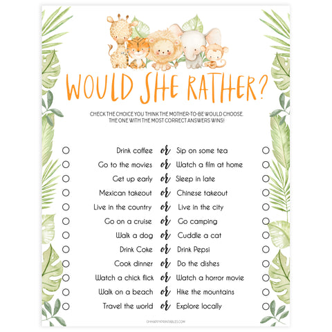 would she rather baby game, Printable baby shower games, safari animals baby games, baby shower games, fun baby shower ideas, top baby shower ideas, safari animals baby shower, baby shower games, fun baby shower ideas