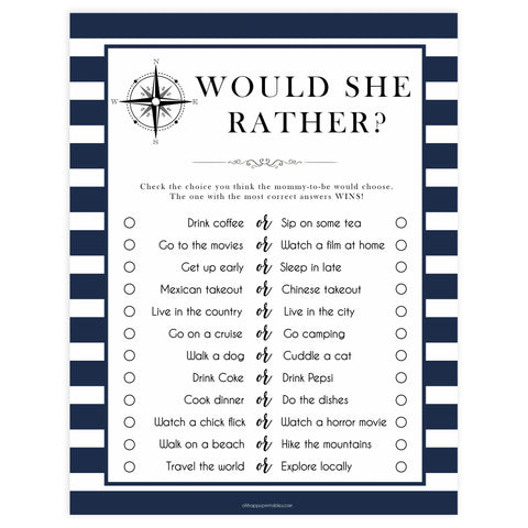 Would She Rather game, would she rather printable, Printable baby shower games, nautical baby shower games, nautical baby games, fun baby shower games, top baby shower ideas