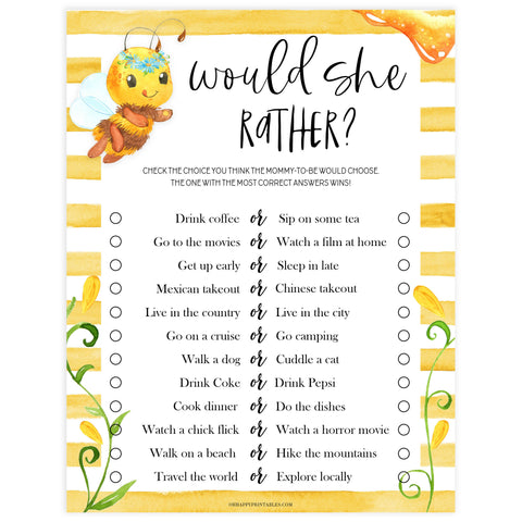 would she rather baby game, would she rather, Printable baby shower games, mommy bee fun baby games, baby shower games, fun baby shower ideas, top baby shower ideas, mommy to bee baby shower, friends baby shower ideas