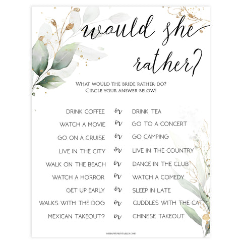 bridal would she rather game, Printable bridal shower games, greenery bridal shower, gold leaf bridal shower games, fun bridal shower games, bridal shower game ideas, greenery bridal shower
