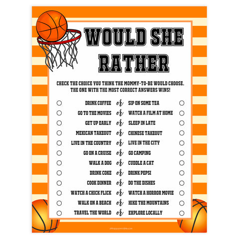 baby would she rather, would she rather game, Printable baby shower games, basketball fun baby games, baby shower games, fun baby shower ideas, top baby shower ideas, basketball baby shower, basketball baby shower ideas