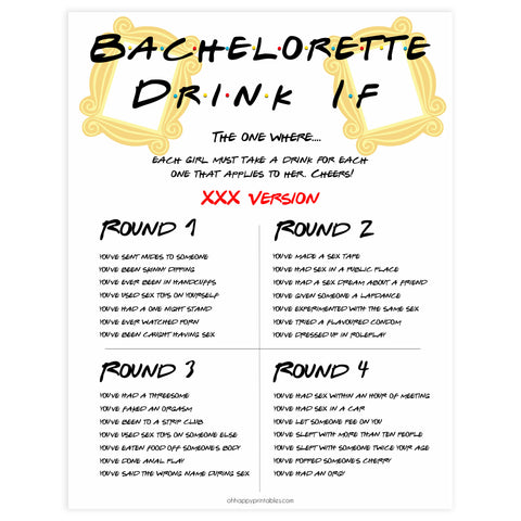 bachelorette drink if, drink if game, Printable bachelorette games, friends bachelorette, friends hen party games, fun hen party games, bachelorette game ideas, friends adult party games, naughty hen games, naughty bachelorette games