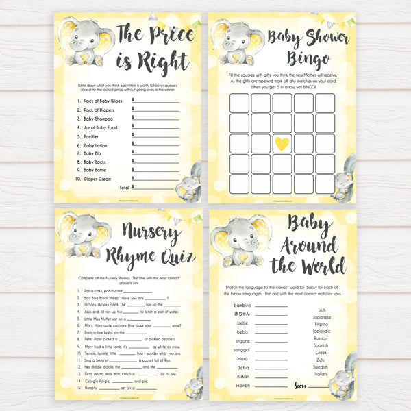 yellow elephant baby games, 7 baby game bundle, baby shower games, baby game bundles, fun baby games, top baby games, labor or porn, baby bump game, instant download games