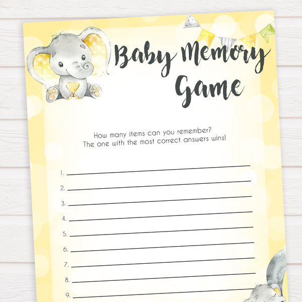 yellow elephant baby games, baby memory game baby games, yellow baby games, elephant baby shower, fun baby games, top 10 baby games, popular baby games, printable baby games