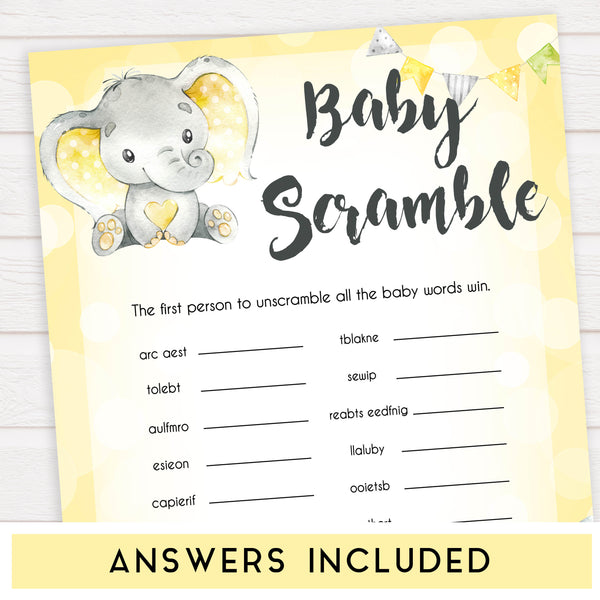 yellow elephant baby games, baby scramble baby games, yellow baby games, elephant baby shower, fun baby games, top 10 baby games, popular baby games, printable baby games
