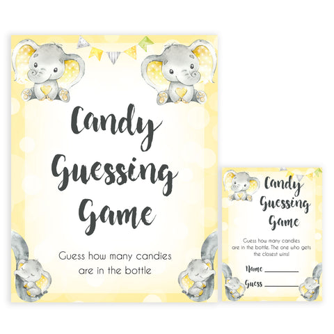 yellow elephant baby games, candy guessing game baby games, yellow baby games, elephant baby shower, fun baby games, top 10 baby games, popular baby games, printable baby games