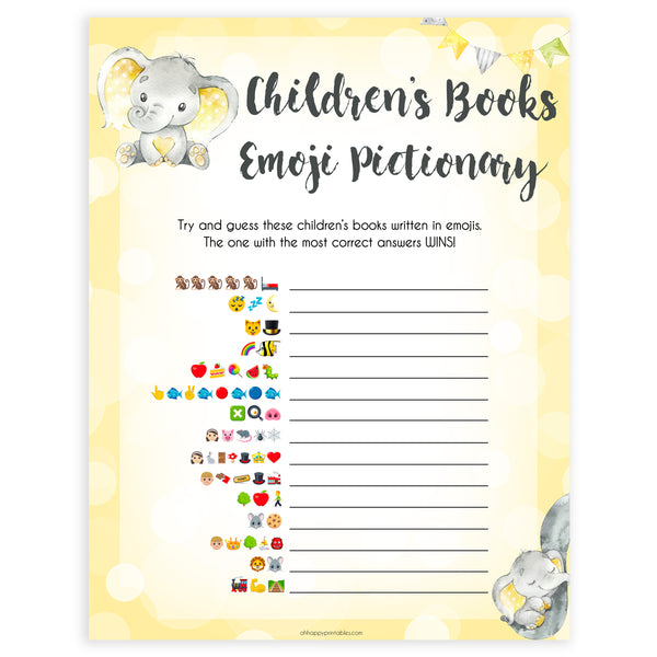 yellow elephant baby games, childrens books emoji pictionary baby games, yellow baby games, elephant baby shower, fun baby games, top 10 baby games, popular baby games, printable baby games