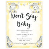 yellow elephant baby games, dont say baby baby games, yellow baby games, elephant baby shower, fun baby games, top 10 baby games, popular baby games, printable baby games