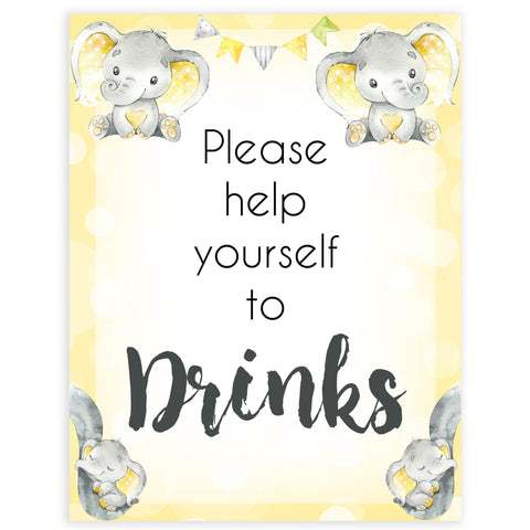 Yellow elephants, neutral baby shower signs, drinks baby signs, baby shower signs, baby shower decor, gender reveal ideas, top baby shower ideas, printable baby signs