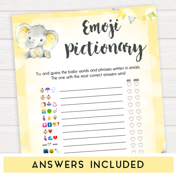 yellow elephant baby games, emoji pictionary baby games, yellow baby games, elephant baby shower, fun baby games, top 10 baby games, popular baby games, printable baby games