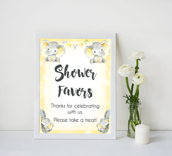 Yellow elephants, neutral baby shower signs, shower favors baby signs, baby shower signs, baby shower decor, gender reveal ideas, top baby shower ideas, printable baby signs