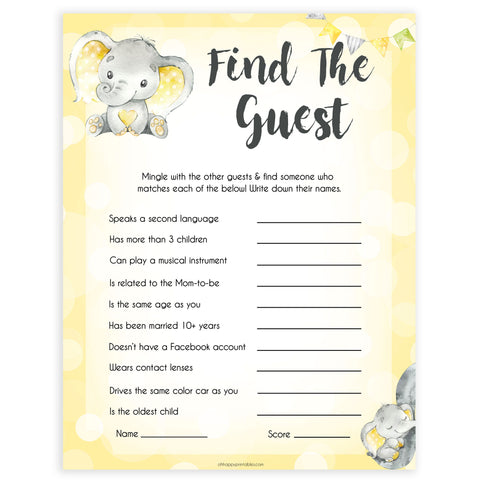 yellow elephant baby games, find the guest baby games, yellow baby games, elephant baby shower, fun baby games, top 10 baby games, popular baby games, printable baby games