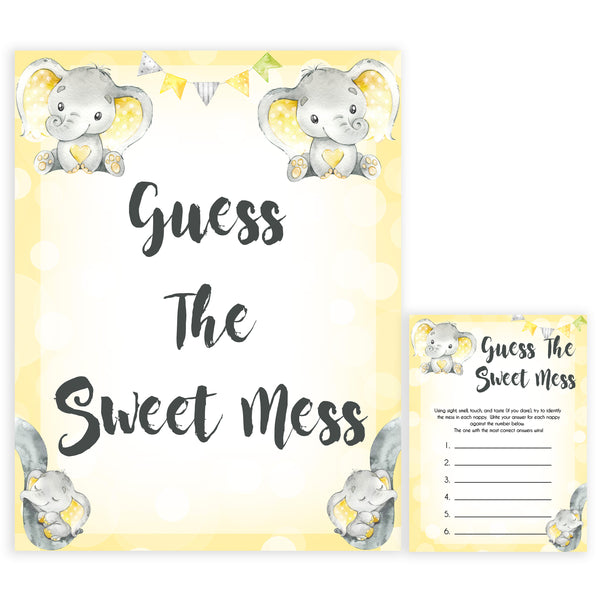 yellow elephant baby games, guess the sweet mess baby games, yellow baby games, elephant baby shower, fun baby games, top 10 baby games, popular baby games, printable baby games