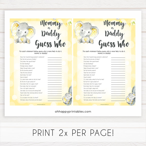 yellow elephant baby games, mommy or daddy guess who baby games, yellow baby games, elephant baby shower, fun baby games, top 10 baby games, popular baby games, printable baby games