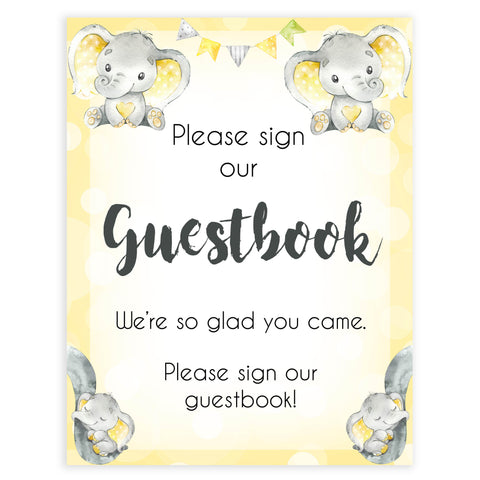 Yellow elephants, neutral baby shower signs, guestbook baby signs, baby shower signs, baby shower decor, gender reveal ideas, top baby shower ideas, printable baby signs