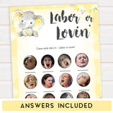 yellow elephant baby games, labor or lovin, labor or porn baby games, yellow baby games, elephant baby shower, fun baby games, top 10 baby games, popular baby games, printable baby games