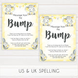 yellow elephant baby games, message from the bump baby games, yellow baby games, elephant baby shower, fun baby games, top 10 baby games, popular baby games, printable baby games