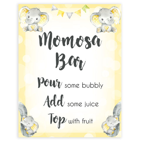 Yellow elephants, neutral baby shower signs, momosa sign baby signs, baby shower signs, baby shower decor, gender reveal ideas, top baby shower ideas, printable baby signs