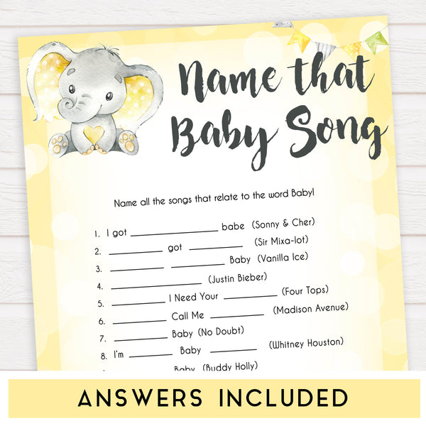 yellow elephant baby games, name that baby song baby games, yellow baby games, elephant baby shower, fun baby games, top 10 baby games, popular baby games, printable baby games