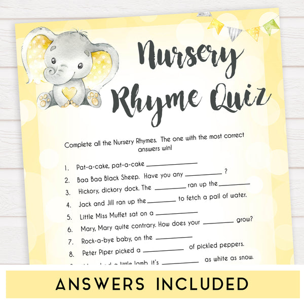yellow elephant baby games, nursery rhyme quiz baby games, yellow baby games, elephant baby shower, fun baby games, top 10 baby games, popular baby games, printable baby games