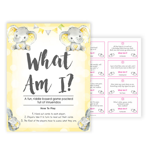 yellow elephant baby games, what am I baby games, yellow baby games, elephant baby shower, fun baby games, top 10 baby games, popular baby games, printable baby games