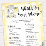 yellow elephant baby games, whats in your phone baby games, yellow baby games, elephant baby shower, fun baby games, top 10 baby games, popular baby games, printable baby games