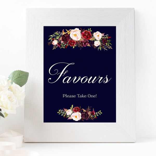 Favours Marsala Dark Blue Wedding sign printable