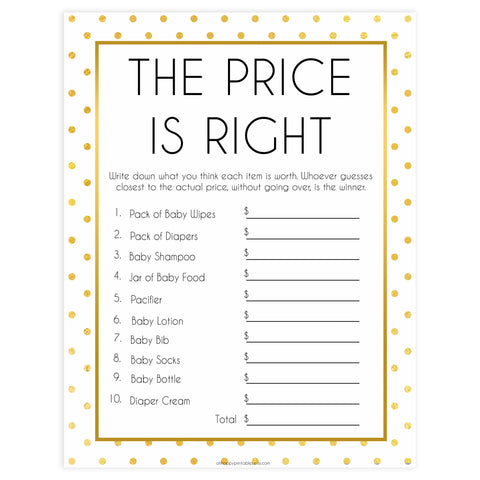 baby price is right game, price is right baby shower, Printable baby shower games, baby gold dots fun baby games, baby shower games, fun baby shower ideas, top baby shower ideas, gold glitter shower baby shower, friends baby shower ideas