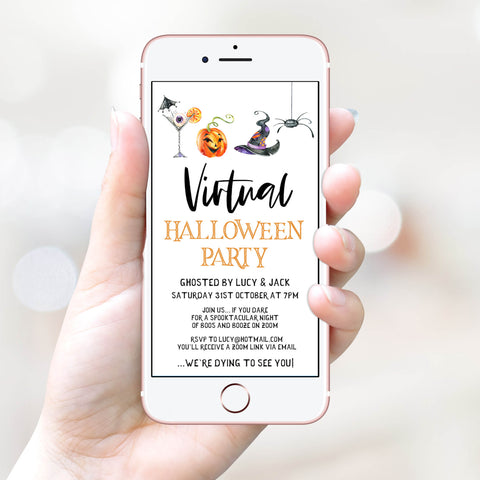 virtual halloween invitation, halloween invitations, editable halloween invitations, cell phone halloween invitations, spooky halloween invitations, drink up witches