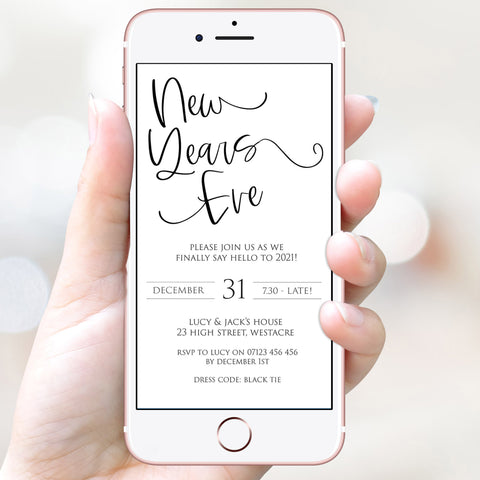 simple new years eve invitation, elegant new years eve invite, new years eve party invitation, new years eve party ideas, party invitations, editable party invitations, gold new years eve invitation