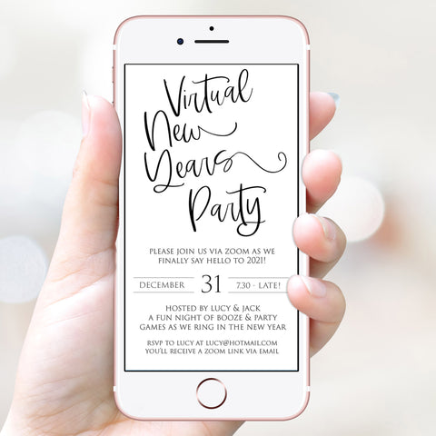 virtual elegant new years eve invitation, new years eve party invitation, new years eve party ideas, party invitations, editable party invitations, gold new years eve invitation