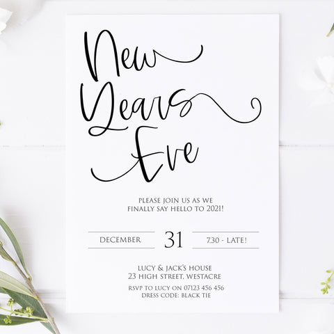 elegant new years eve invitation, new years eve party invitation, new years eve party ideas, party invitations, editable party invitations, gold new years eve invitation