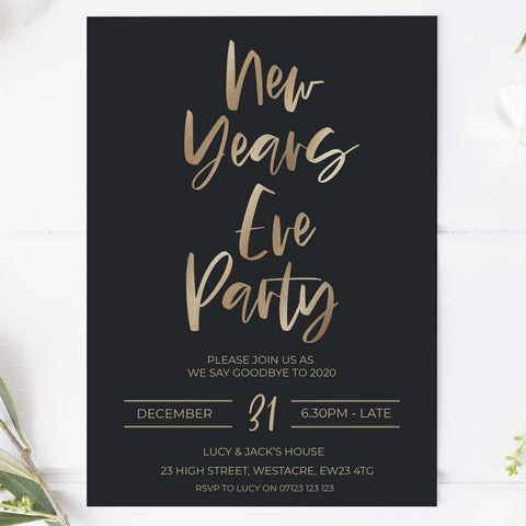 new years eve party invitation, new years eve party ideas, party invitations, editable party invitations, gold new years eve invitation