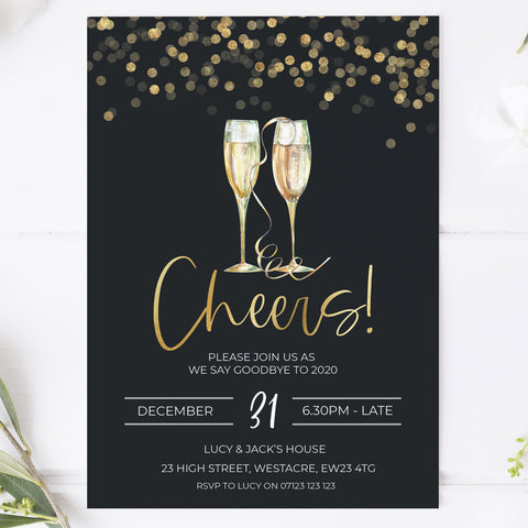 Gold cheers New years eve invitation, new years eve invitations, new years party invites, editable invitations, new years eve ideas