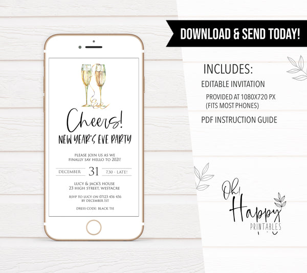 gold cheers new years eve, mobile invitation, phone invitation, new years eve party invitation, new years eve party ideas, party invitations, editable party invitations, gold new years eve invitation