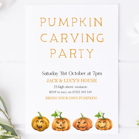 pumpkin carving invitation, halloween invitations, editable halloween invitations, cell phone halloween invitations, spooky halloween invitations, drink up witches