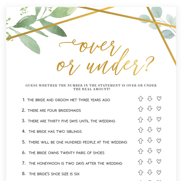 Over or Under Bridal Game - Gold Greenery