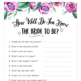 Do You Know the Bride Game - Purple Peonies
