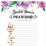 Bridal Emoji Pictionary - Purple Peonies