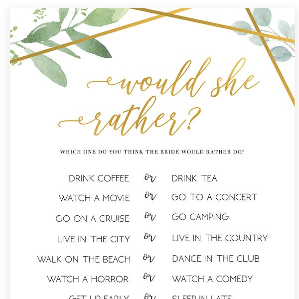 Would She Rather Bridal Game - Gold Greenery