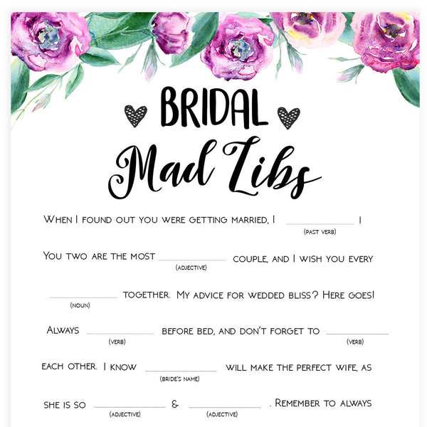 Bridal Mad Libs Game - Purple Peonies
