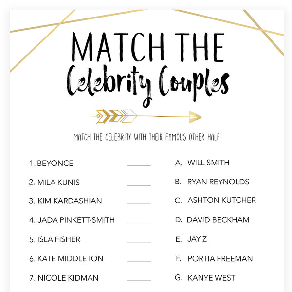Match Celebrity Couples Game - Bride Tribe