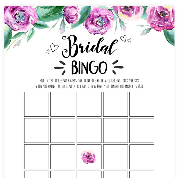 Bridal Bingo Game - Purple Peonies