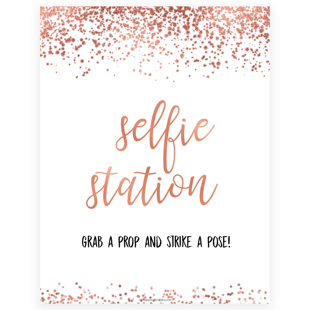 picture about Selfie Station Sign Free Printable identified as Selfie Station Desk Indicator Printable Rose Gold Bridal